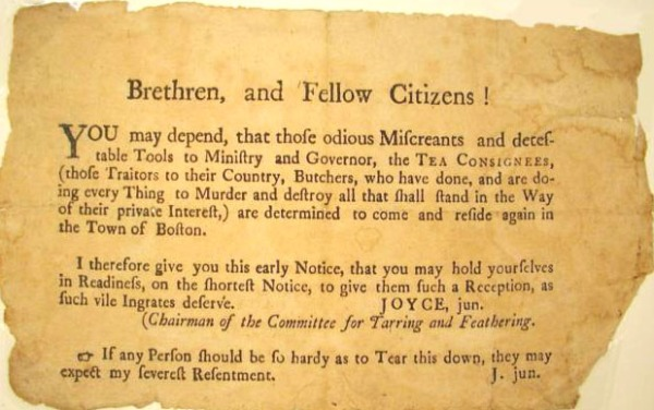 A Boston Tea Party protest notice
